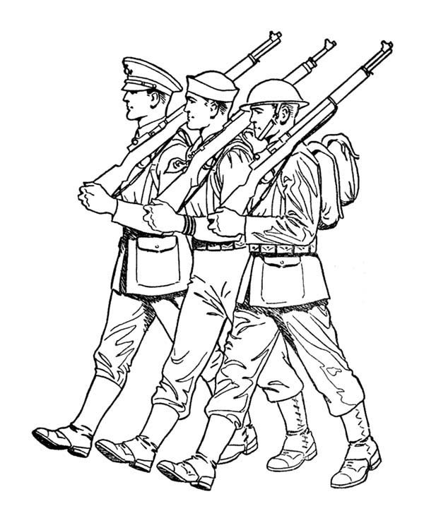 600x734 Soldiers Parade In Armed Forces Day Coloring Page Batch Coloring