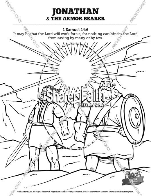 520x673 Jonathan And His Armor Bearer Sunday School Coloring Pages