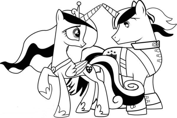 600x400 My Little Pony Coloring Pages Princess Cadence And Shining Armor