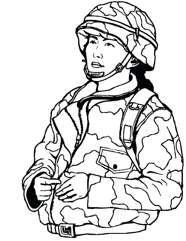 600x776 Army Coloring Pages Printable Woman Military Soldier Color Free