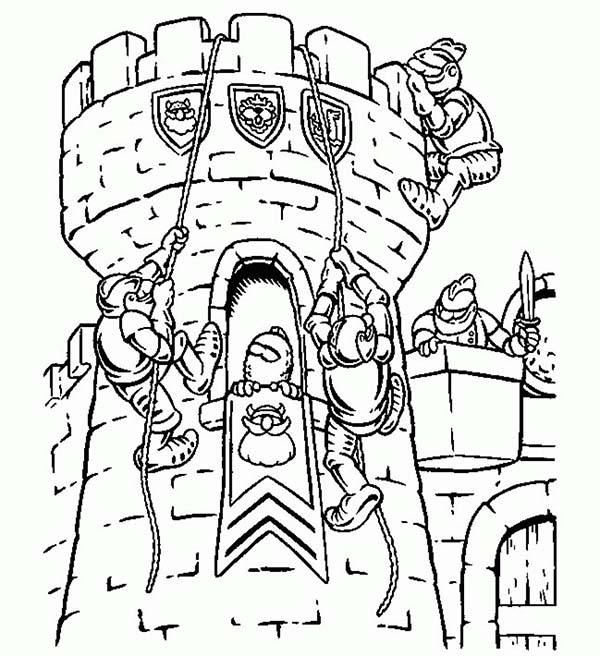 600x656 Lego Army Coloring Pages Lego Knights Climb Watching Tower