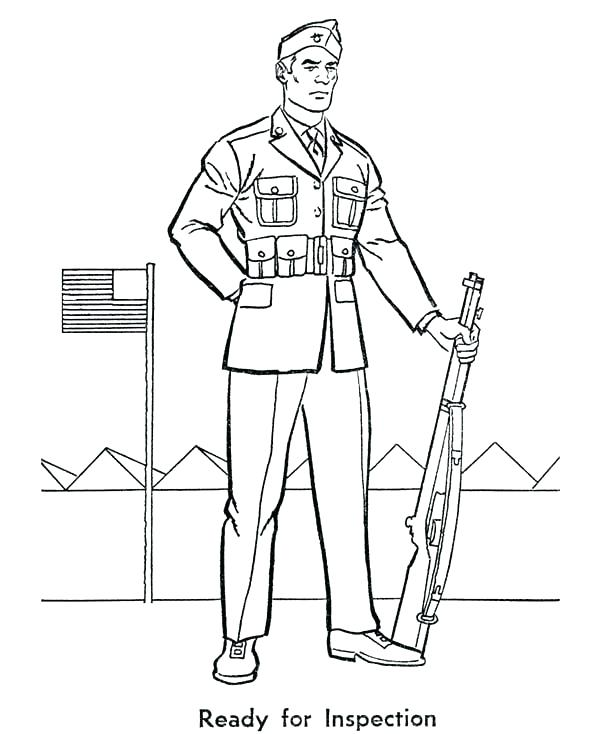 600x734 Soldier Coloring Pages Army Guy Coloring Pages Army Soldier