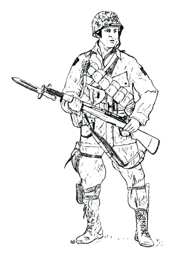 600x860 Army Guy Coloring Pages Army Holding Bayonet Coloring Pages Army
