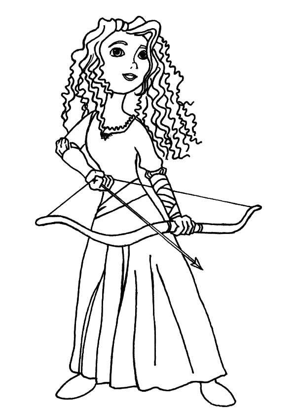 600x841 Princess Merida Prepare With Her Arrow And Bow Coloring Pages