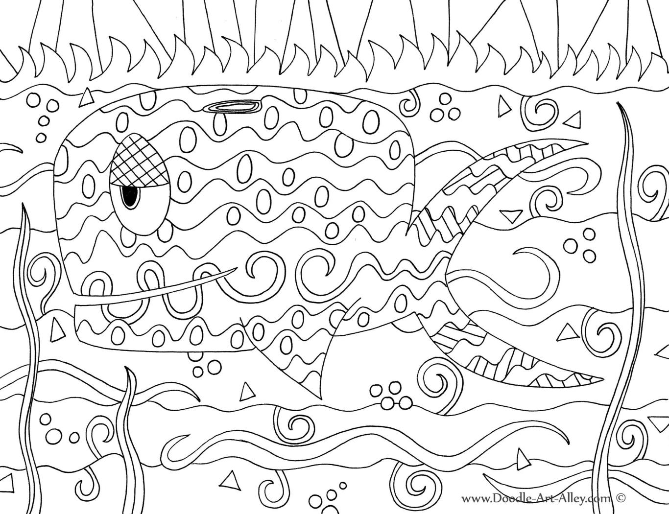 1366x1050 Ocean Animal Coloring Pages Doodle Art Alley Art Class