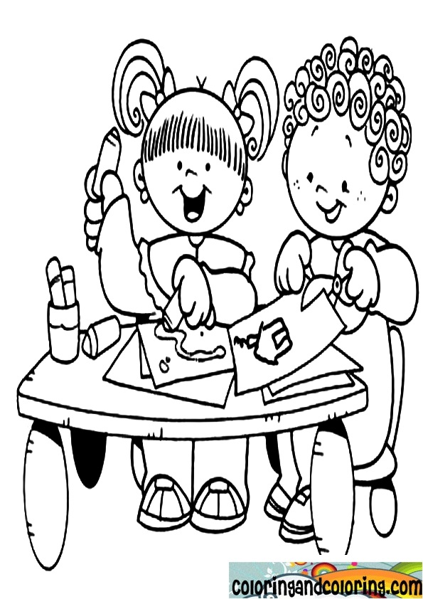 595x842 Children In Class Colouring Pages, Class Coloring Pages