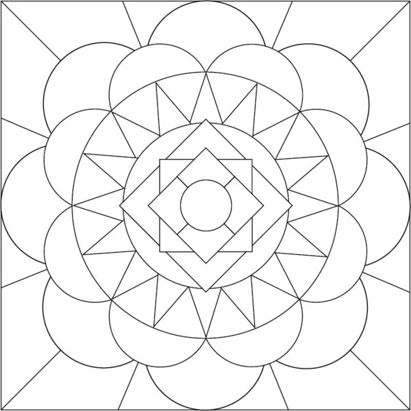 600x600 Mandala Coloring Page