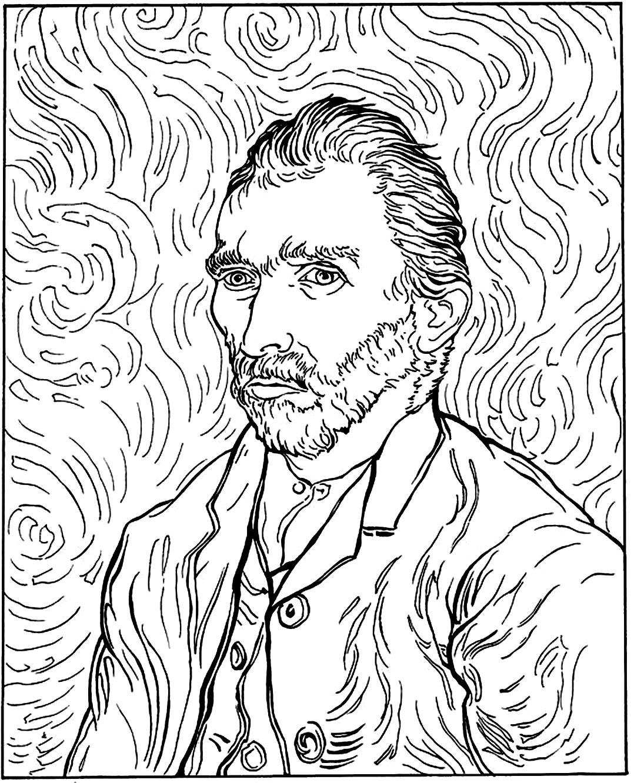 1078x1332 Van Gogh Autoportrait Masterpieces Coloring Pages For Adults Art