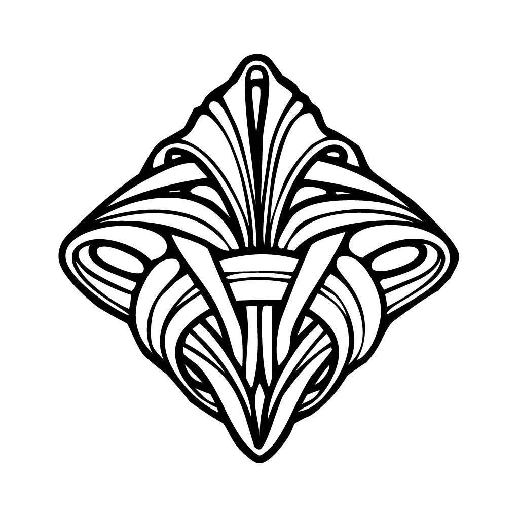 1024x1024 Art Nouveau Coloring Pages