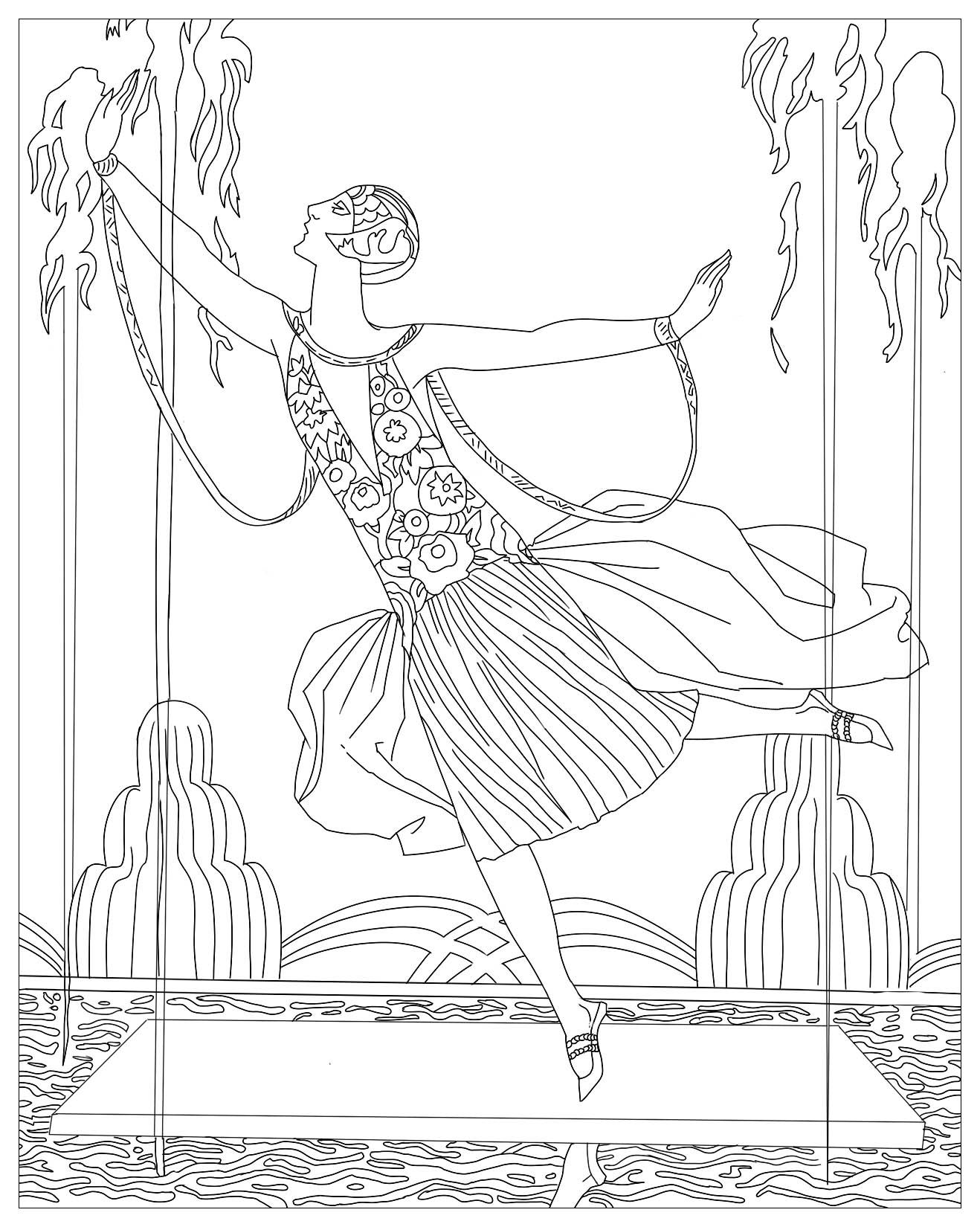 1318x1650 Shocking Dancer With Water Jets George Barbier Pics For Art Deco