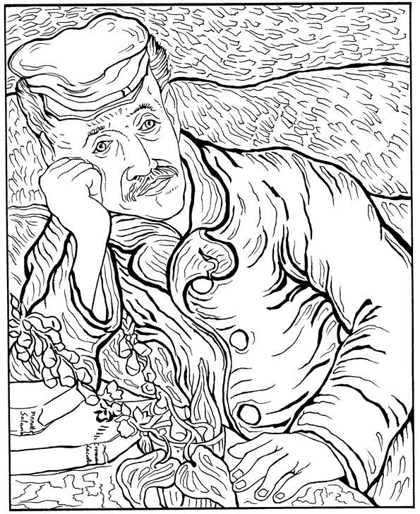 595x727 Best Van Gogh Kleurplaten Images On Adult Coloring