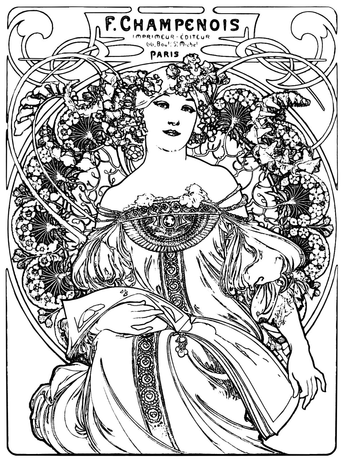 1200x1611 Art Nouveau Coloring Page Craft Room Adult