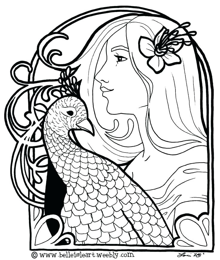 736x871 Art Deco Coloring Pages Free Goddess For Print Sheets Gallery