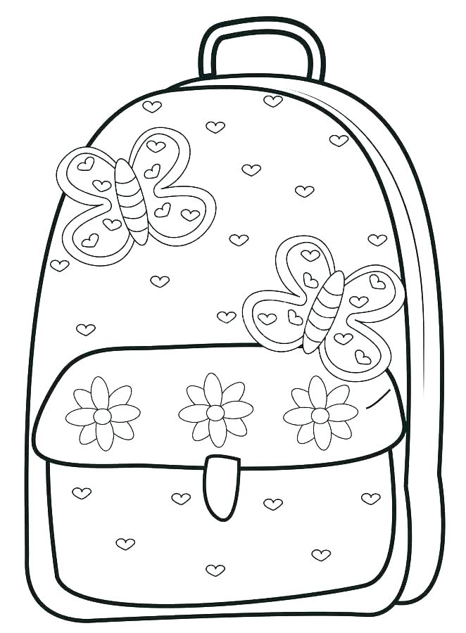 662x900 School Bag Coloring Pages School Supplies Coloring Pages School