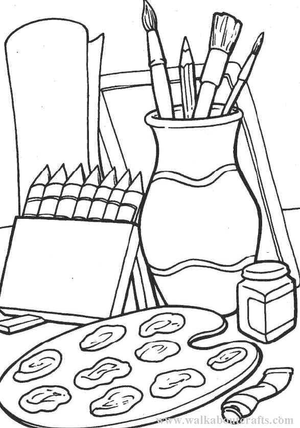 587x835 Art Supplies Coloring Pages Recettes