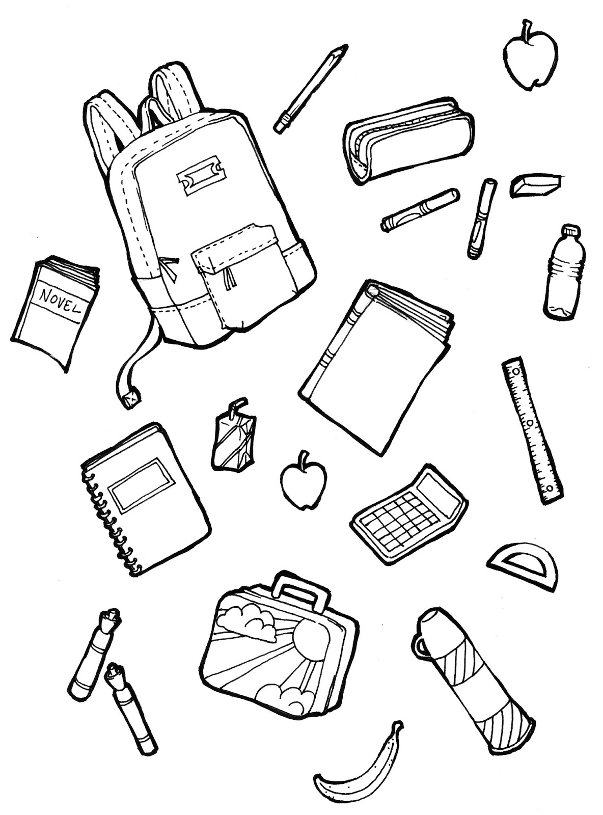 1184x1600 School Supplies Coloring Pages Free Printable Endear