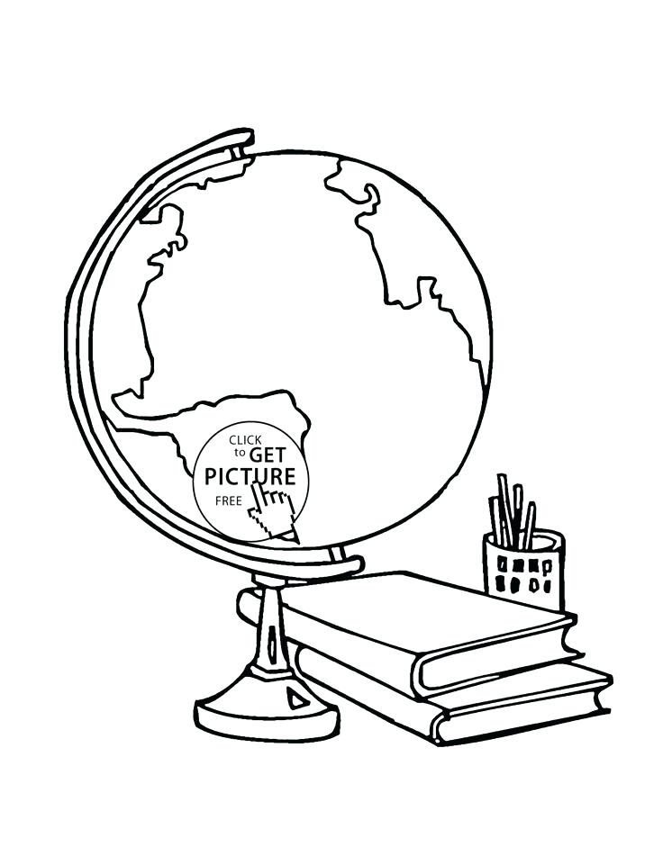 736x951 School Supplies Coloring Pages Globe And School Supplies Coloring