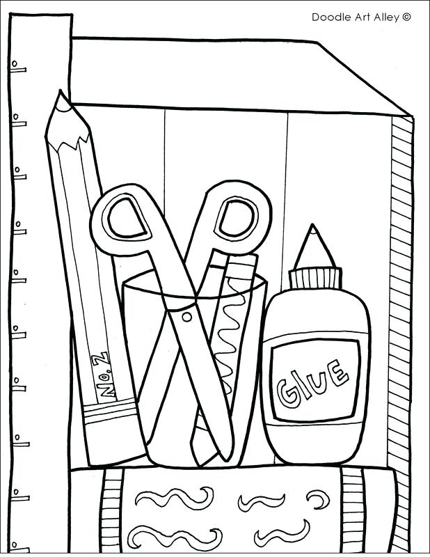 618x800 School Supplies Coloring Pages School Supplies Coloring Page Free
