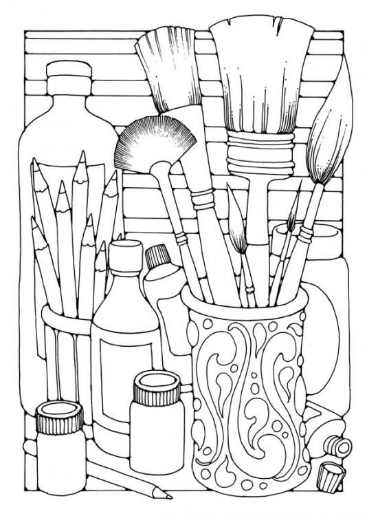 534x750 Art Supplies Coloring Pages