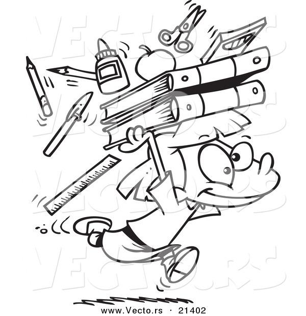 600x620 Vector Of A Cartoon School Girl Running With Supplies