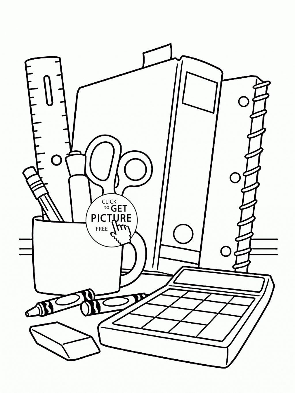 1024x1365 School Supplies Coloring Pages With School Supplies Coloring