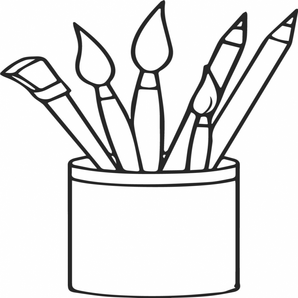 1024x1024 Art Supplies Pencils Paint Brushes Coloring Page Wecoloringpage