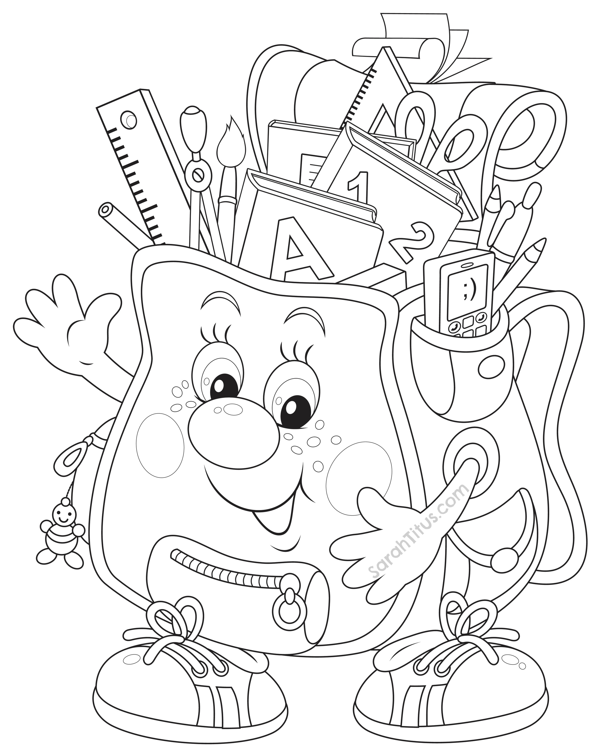 2370x3000 Cartoon School Supplies Coloring Pages With Faces Collection