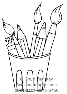 215x300 Clipart Illustration Of Art Supply Coloring Page Of Paintbrushes