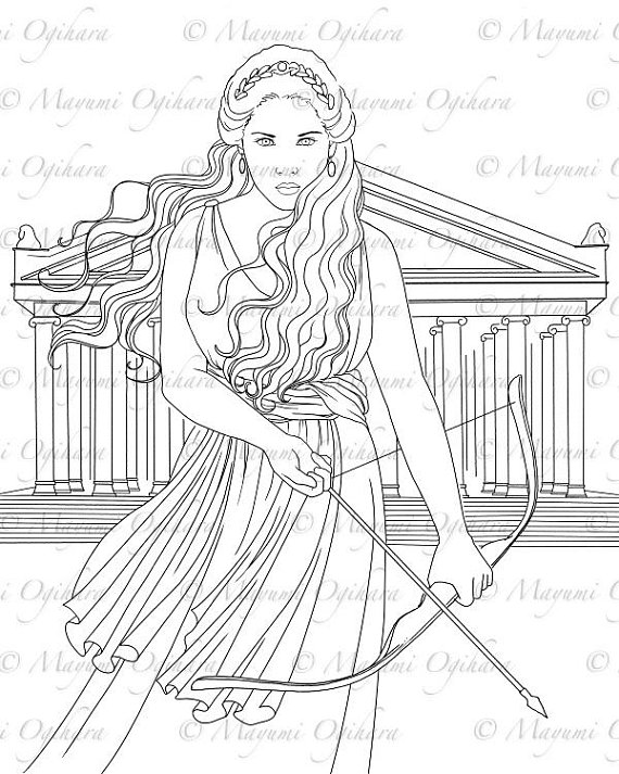 570x713 Artemis Digital Stamp Colouring Page Printable Instant