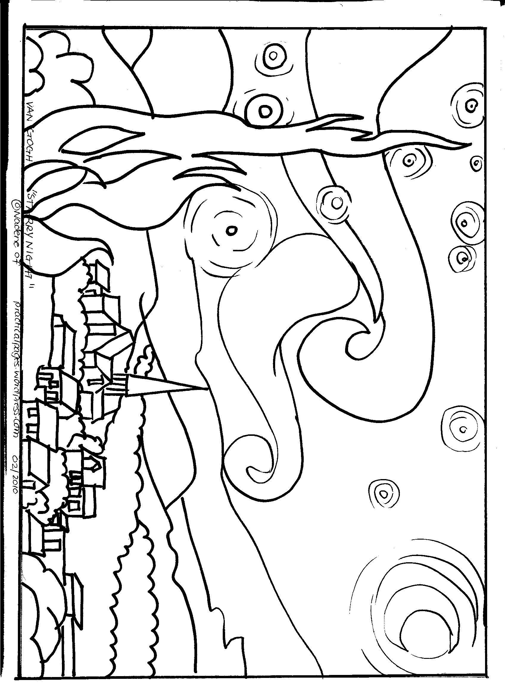 1696x2338 Remarkable Famous Artwork Coloring Pages Page Van Gogh Starry