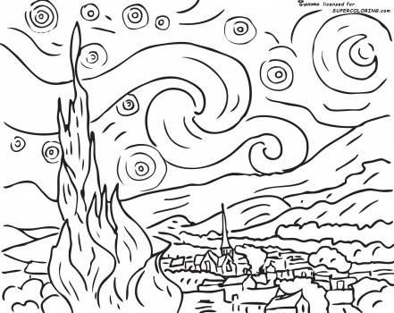 441x350 Coloring Sheet Of Famous Art Designed