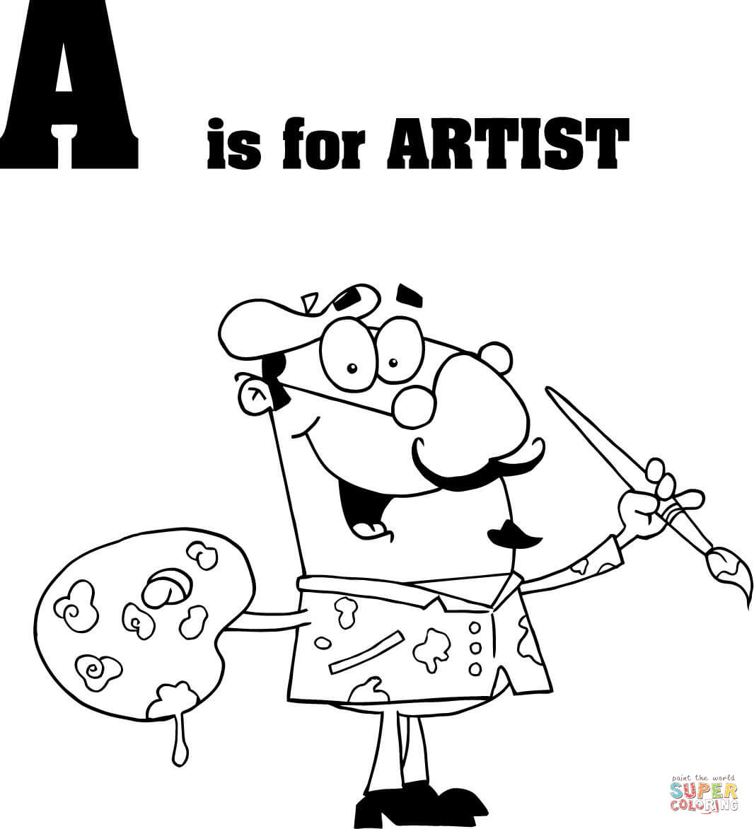 1066x1172 Letter A Is For Artist Coloring Page Free Printable Coloring Pages