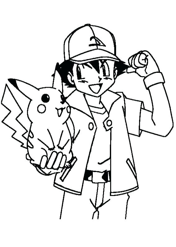 567x794 Pikachu Coloring Page Ash Encouraging Coloring Page Pokemon