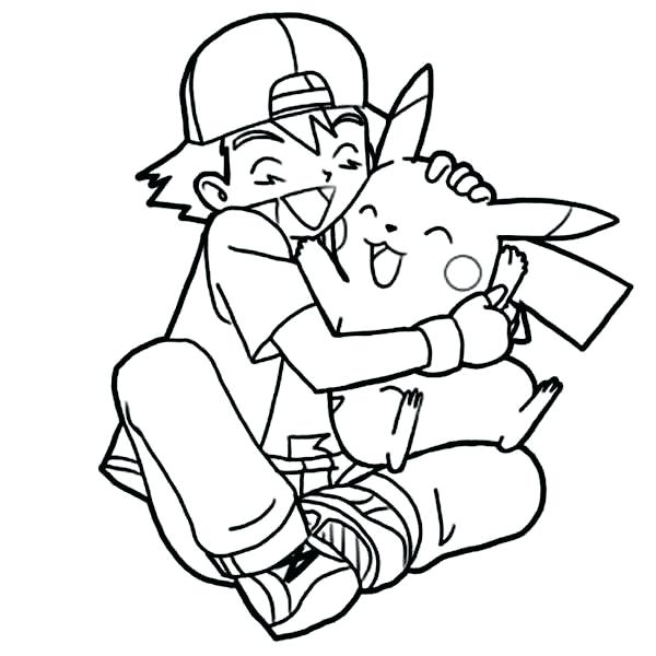 600x600 Ash And Pikachu Coloring Pages Ash Hug So Tight Colouring Page