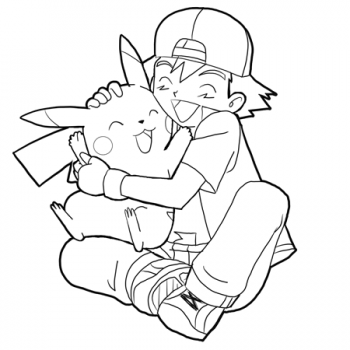 350x350 Pokemon Ash And Pikachu Coloring Pages
