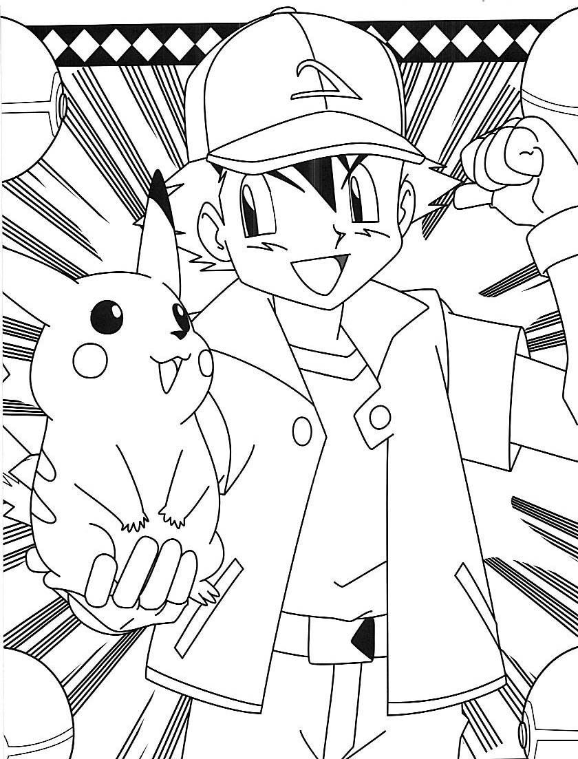 840x1103 Pokemon Ash Pikachu Coloring Pages Embroidery