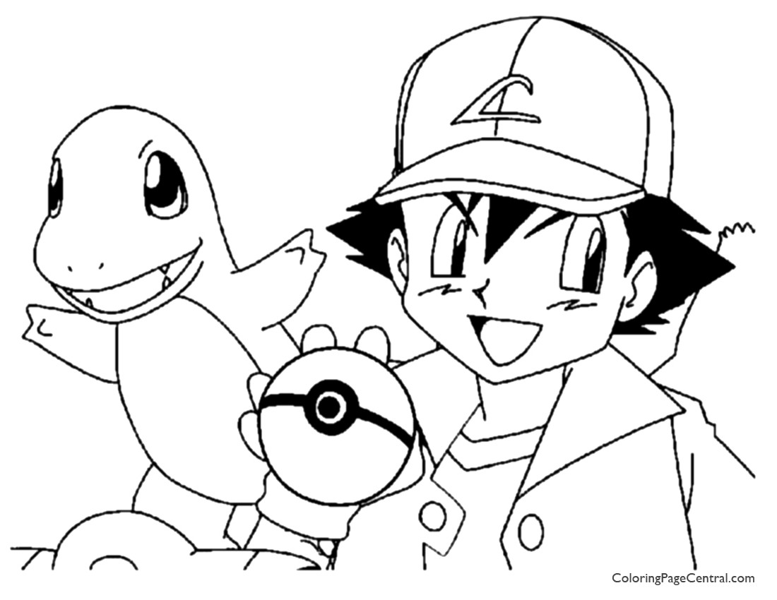 1100x850 Terrific Pokemon Ash And Pikachu Coloring Pages Cartoon