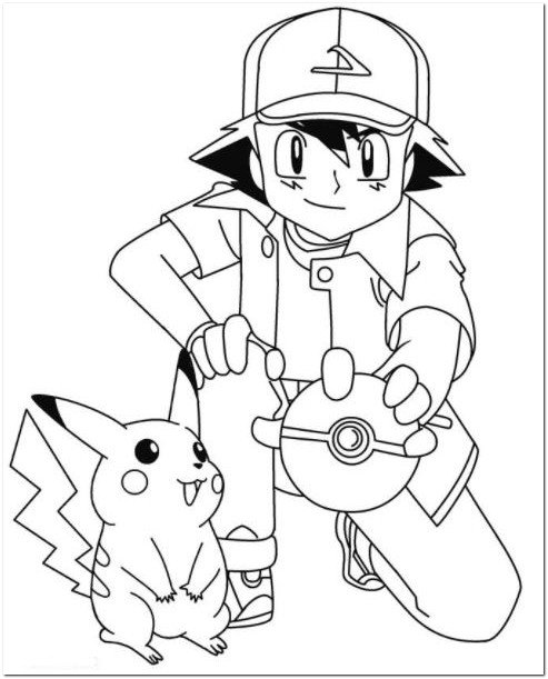493x611 Ash And Pikachu Coloring Pages Drawing Board Weekly