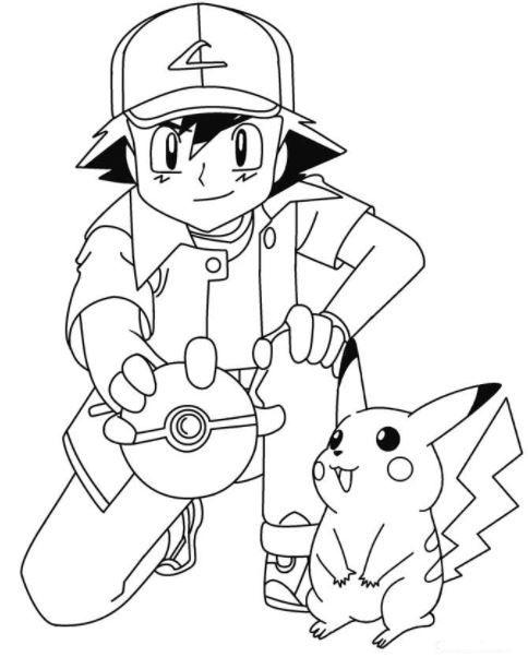 484x602 Ash Pikachu Coloring Pages Ash