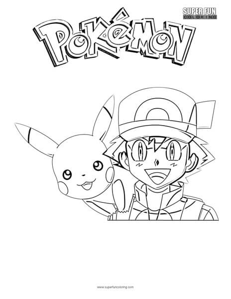 464x600 Ash And Pikachu Coloring Page