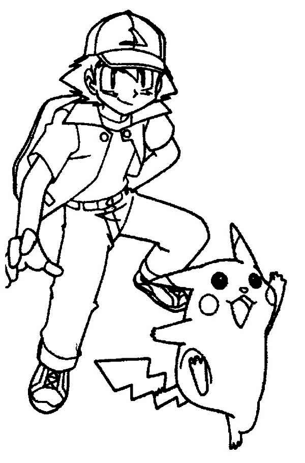 600x910 Pikachu And Ash In Ready Position Coloring Page