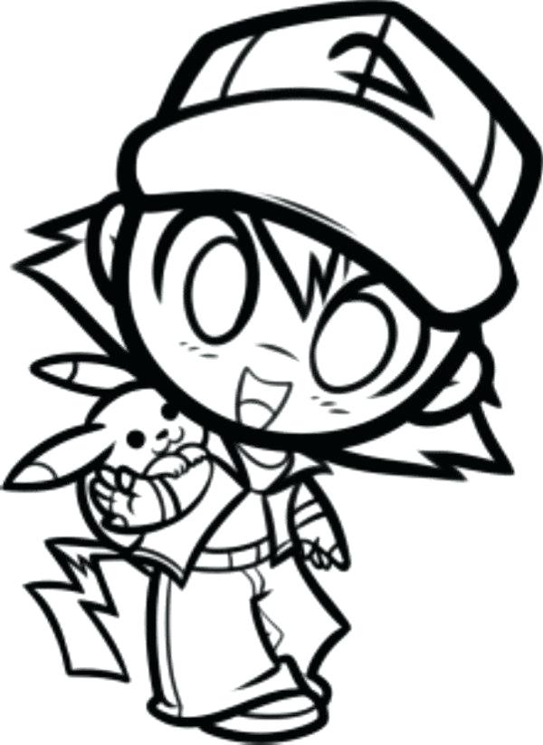600x822 Pokemon Ash Ketchum Coloring Page