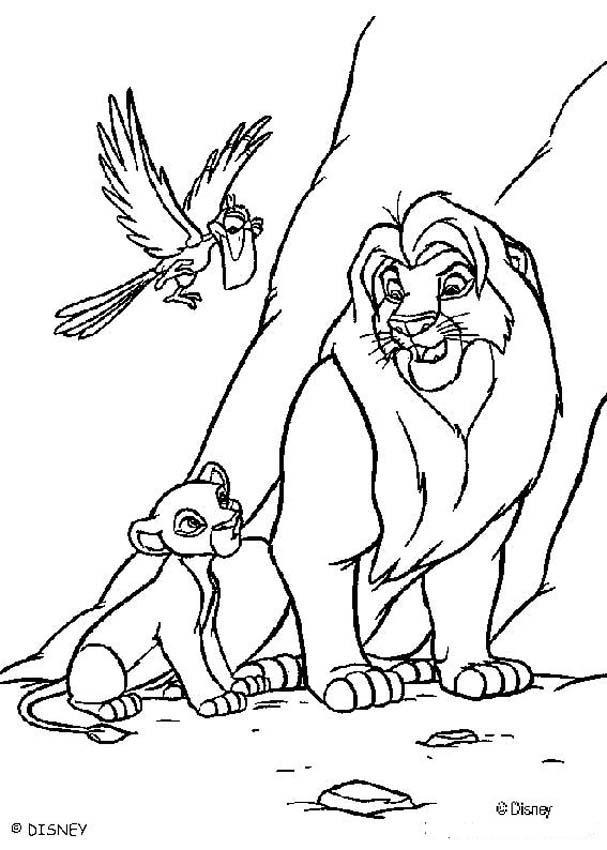 607x850 Mufasa, Simba And Zazu Coloring Pages