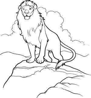 300x323 Aslan Come Out From Narnia Chronicles Of Narnia Coloring Page