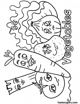 262x338 Free Printable Mix Vegetables Coloring Pages Sheet To Print Out