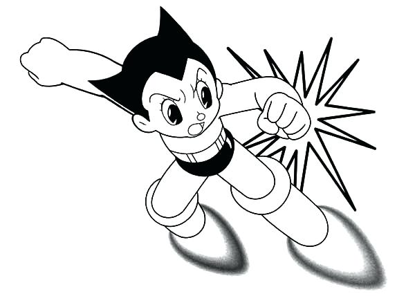 600x428 Astro Boy Coloring Pages Boy Strong Punch Coloring Pages Top