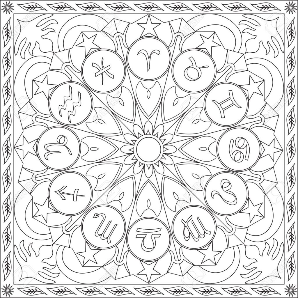 1024x1024 Astrology Coloring Pages Paginone Biz Inside
