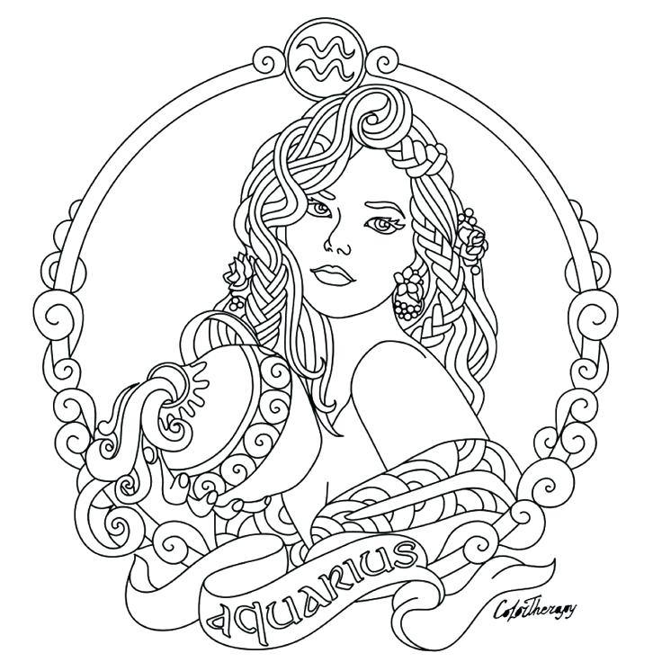 736x736 Zodiac Coloring Pages Zodiac Beauty Colouring Page Astrology Signs