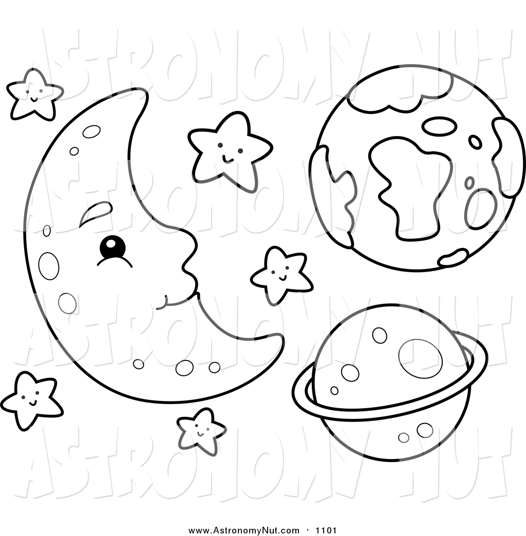 1024x1044 Clipart Of A Lineart Happy Moon With Stars And Planets