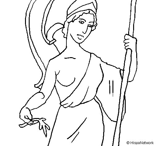 505x470 Athena Coloring Page